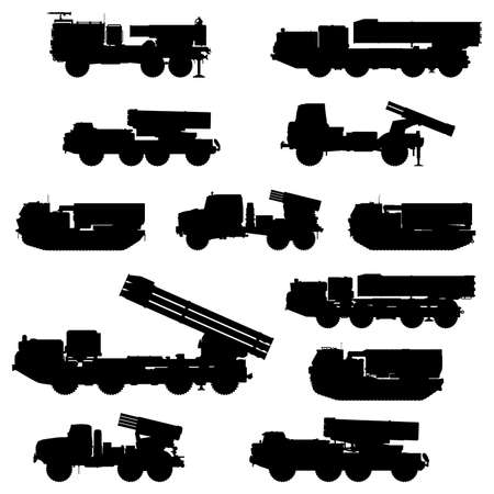 Multiple launch rocket system silhouettes set. MLRS. Vector  .