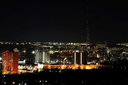 the city lights at night. the city of Tula. View from the 13th floor to the small part of the night city, including the TV radio tower, height of more than 300 meters. Night. Lights. Night city.