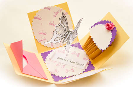 Square 3d Postcard With A Butterfly Inside A Origami Cake And