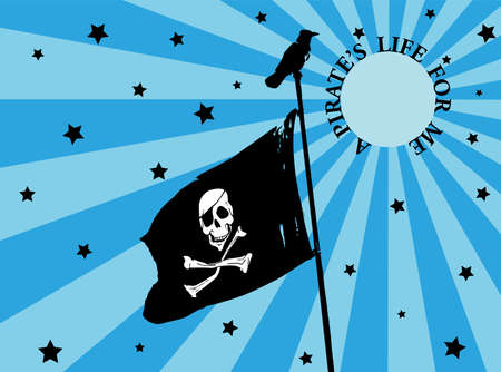 Black and white pirate flag on a pole with a crow on top. Night background with the moon and stars. Vector