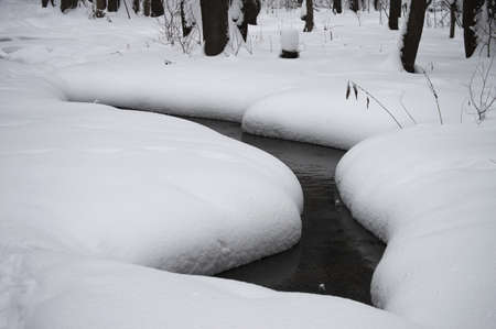 not open: Open space a stream, which is not frozen in the winter. Snowy shore overhangs the water.