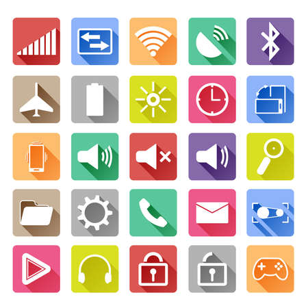button batteries: Flat icons for mobile phone with a long shadow Illustration