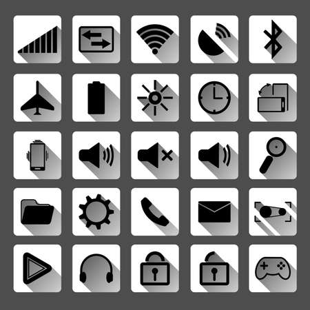 Flat icons for mobile phone  Vector