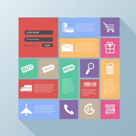 Flat user interface for webpage shop Vector