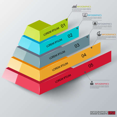 Abstract 3d pyramid infographics Vector