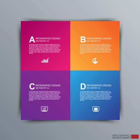 Abstract 3D paper Infographic  Vector