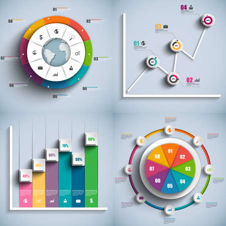 progress icon: Set of Infographics vector design template