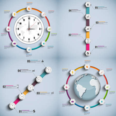 Set timeline Infographic design template Vector