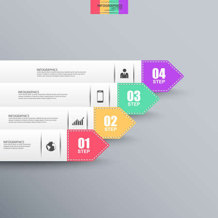 graphic design background: Abstract 3D paper Infographic
