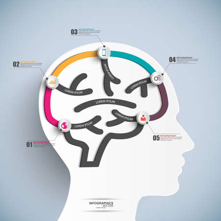 Infographics brain vector design template  Vector