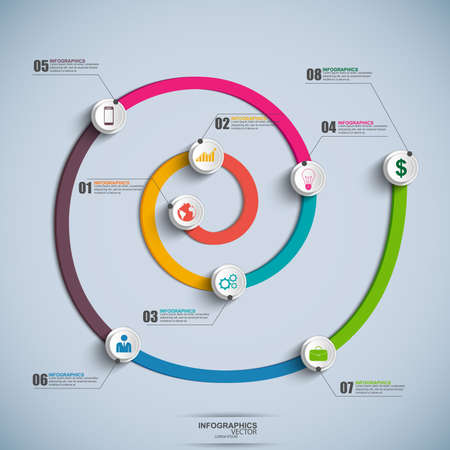 スパイラル タイムライン インフォ グラフィック  イラスト・ベクター素材