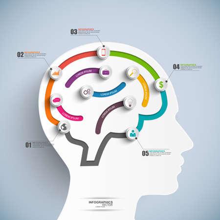 Infographics brain vector design template