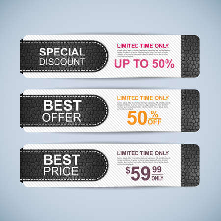 Collection leather sale banners Vector