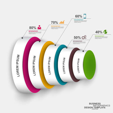 3d circle: Abstract 3D digital business circle Infographic