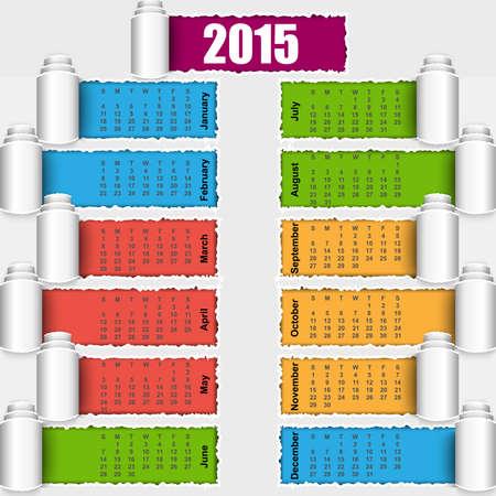 Torn paper calendar 2015 design