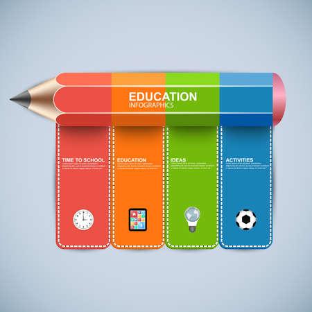 教育鉛筆インフォ グラフィック ワークフロー レイアウト、バナー、図表番号のオプションを使用することができます、ステップ アップのオプショ
