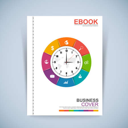 cover background time: Cover Book Digital Design Minimal Style Template Illustration