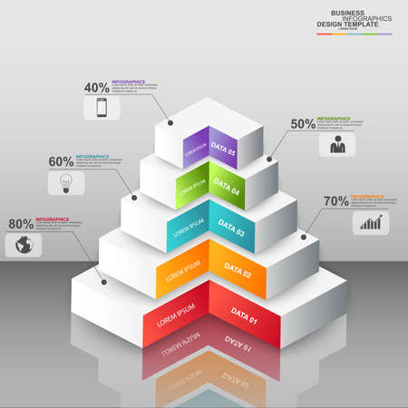 Abstract 3D digital business pyramid Infographic Vector