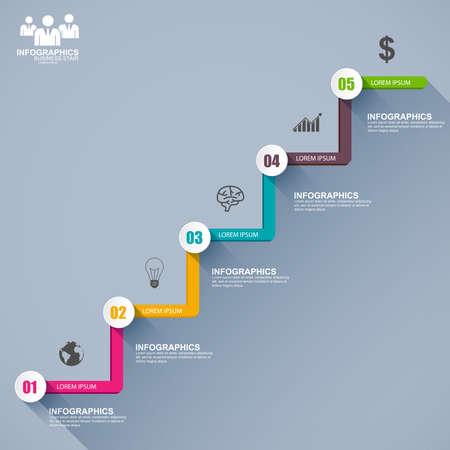stair: Infograf�a planas paso �xito escalera de negocios Vectores