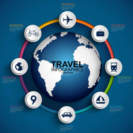 Travel infographics design template Vector