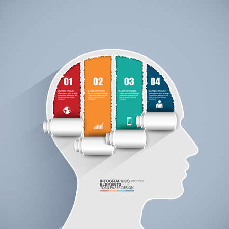 presentation people: Infographics brain vector design template Illustration