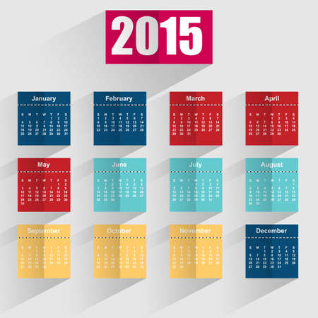 Flat simple 2015 calendar with shadows Illustration