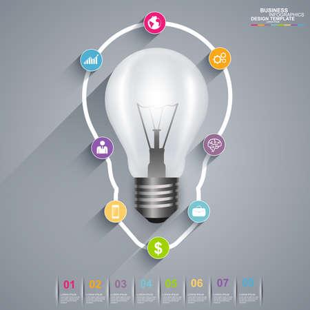 Infographics light bulb vector design template Vector