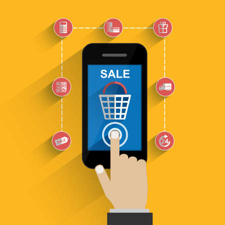 buy button: Smart phone with buy button on the screen