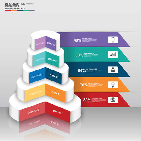 Abstract 3D digital business circle Infographic Vector