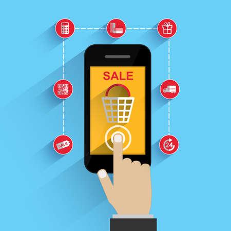 mobile apps: Flat concept e-commerce for mobile apps Illustration