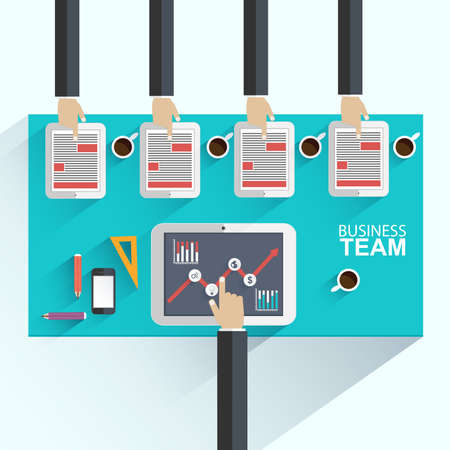 Flat design concepts for business meeting and brainstorming success Illustration