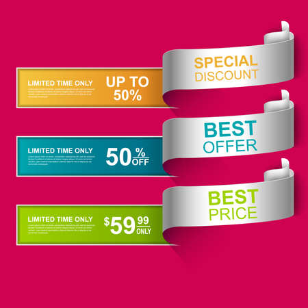 Collection curved sale banners Ilustrace