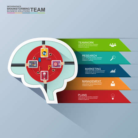 equipment work: Infographics brainstorming flat design template
