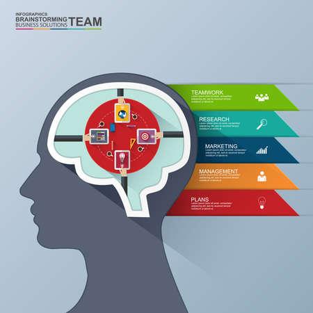 Infographics brain vector design template Vector