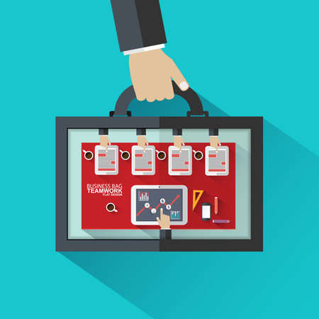 global work company: Flat design concepts bag for business meeting