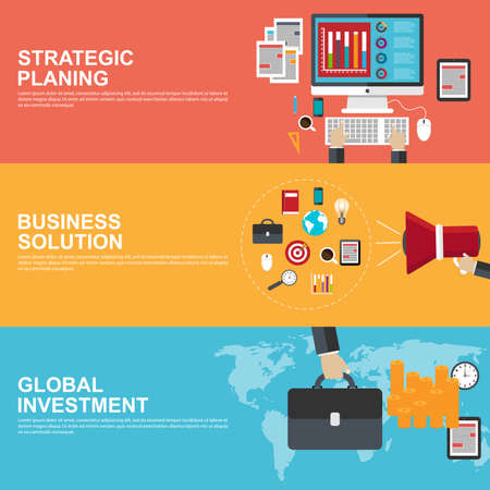 Flat design concepts for strategic planning, global investment and business solution Vector