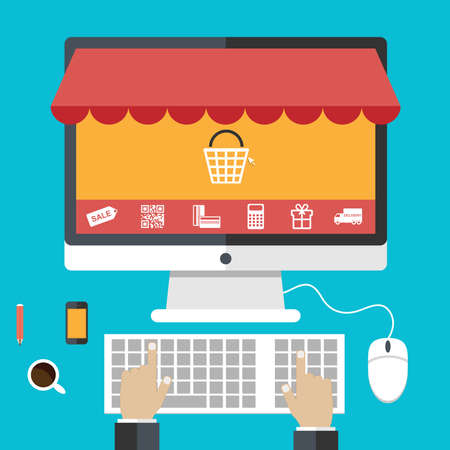 Conceptos de diseño Flat compras en línea y el comercio electrónico Foto de archivo - 34640167