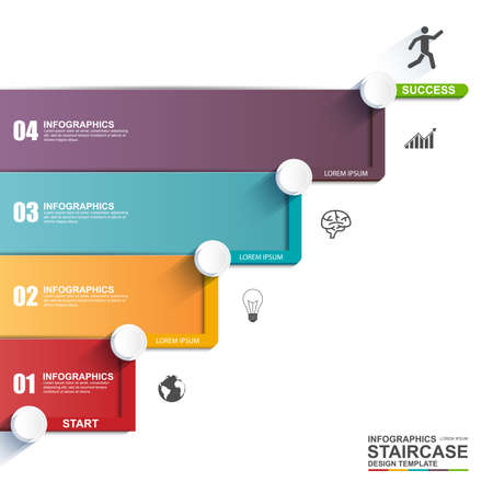 stairs: Infographics business stair step success vector design template