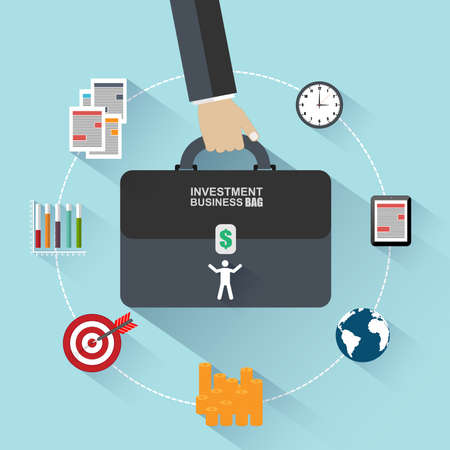 human resource management: Flat design concepts of investment bag Illustration
