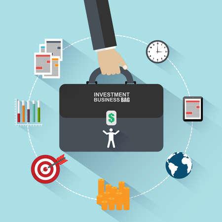 Flat design concepts of investment bag Illustration