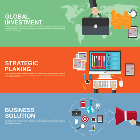 banking and finance: Flat design concepts for strategic planning, global investment and business solution