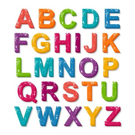 acid colors: 3D colorful alphabet grunge font style Illustration