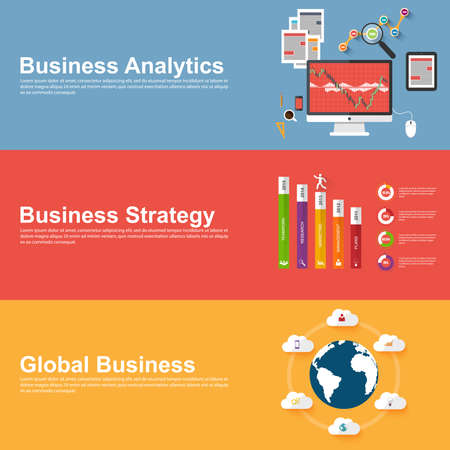 Flat design concepts of global business, business strategy and analytics Ilustrace