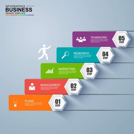 Infographics zakelijke trap stap succes vector ontwerpsjabloon