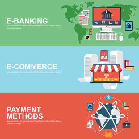 Flat design concepts for e-commerce, e-banking and payment methods Vector
