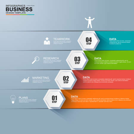 Infografía escalón negocio vector éxito plantilla de diseño Ilustración de vector