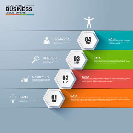 exito: Infografía escalón negocio vector éxito plantilla de diseño Vectores