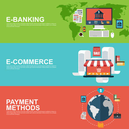 Flat design concepts for e-commerce, e-banking and payment methods Illustration