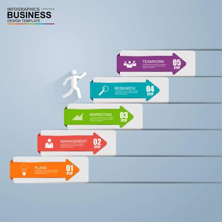 インフォ グラフィック ビジネス階段ステップ成功ベクトル デザイン テンプレート  イラスト・ベクター素材