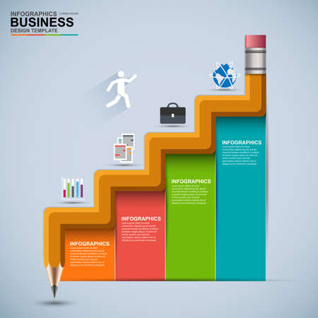 Infographic business staircase education vector design template Ilustração